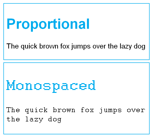 proportional vs monospaced typeface