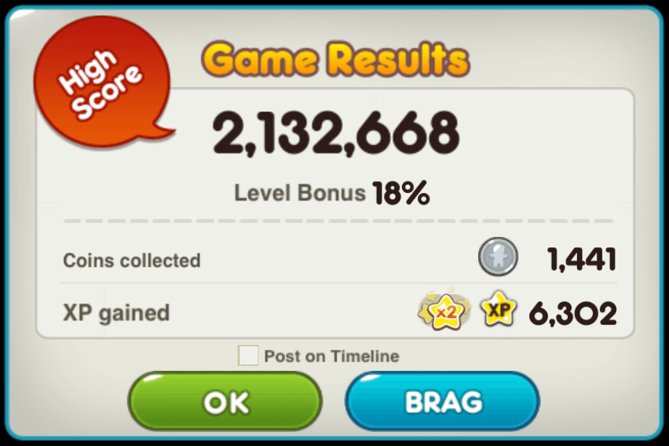 line cookie run 2.1m score