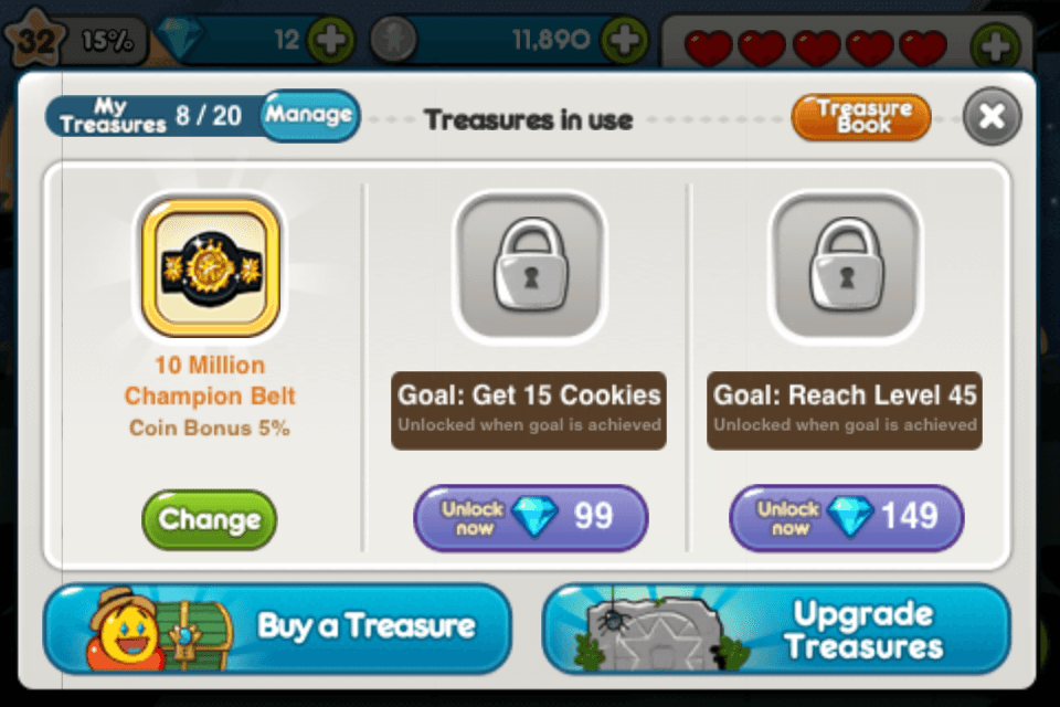 line cookie run treasure champion belt